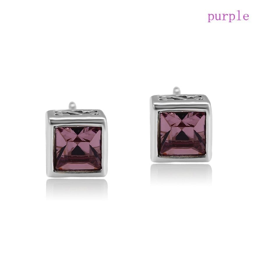 Fashion Colorful Earrings Small Square Crystals from Swarovski - Luxynor.com