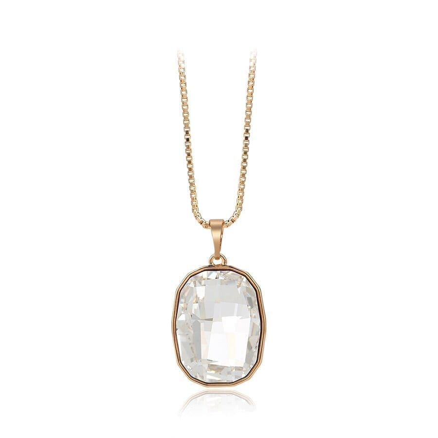 Luxury Jewelry Pendant Square Shape Crystals from Swarovski Gold Color Plated Necklaces - Luxynor.com