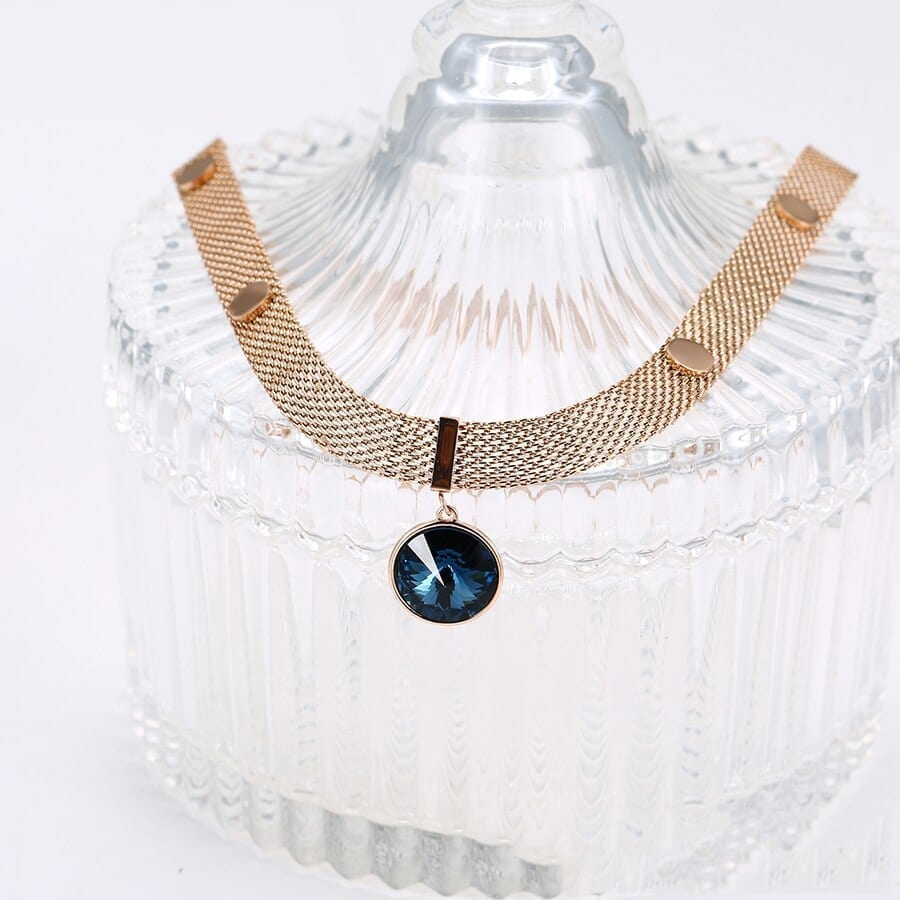 Retro Necklaces Crystals from Swarovski necklace Rose Gold Plated - Luxynor.com