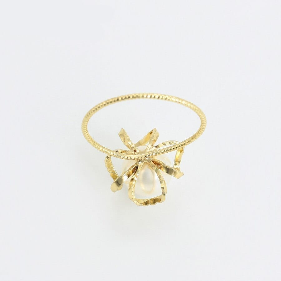 Cute Rings For Women Imitation Pearl Light Yellow Gold Color - Luxynor.com