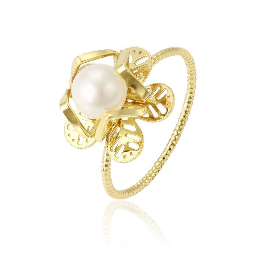 Fashion Rings For Women And Girls Imitation Pearl Career Light Yellow Gold Color - Luxynor.com