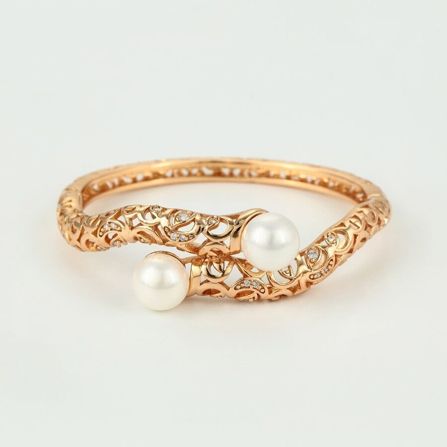 Bangles Women Gold Color Limitation pearl Vintage Luxury Jewelry - Luxynor.com