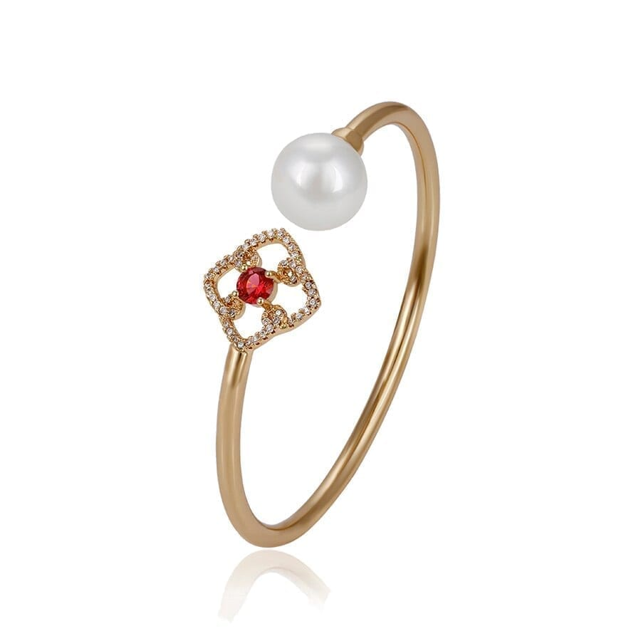Fashion Zirconia Bangles Fashion Gold-Color Plated Imitation Pearl Jewelry Gifts Women