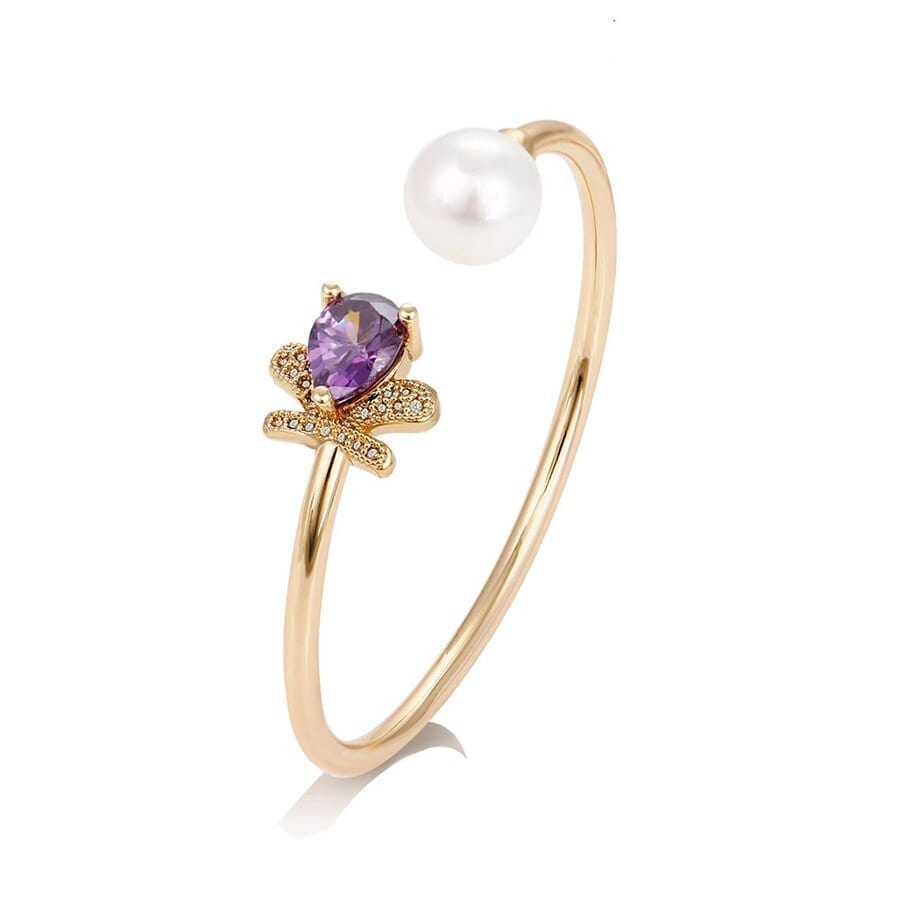 Water Drop Bangles Casual Imitation Pearl Jewelry Gold-Color - Luxynor.com