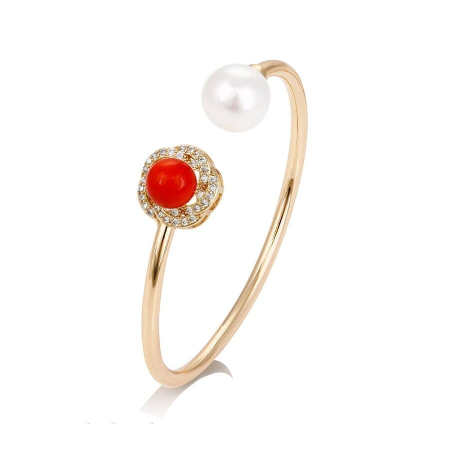 Gold Color Plated Bangles Exquisite Imitation Pearl - Luxynor.com