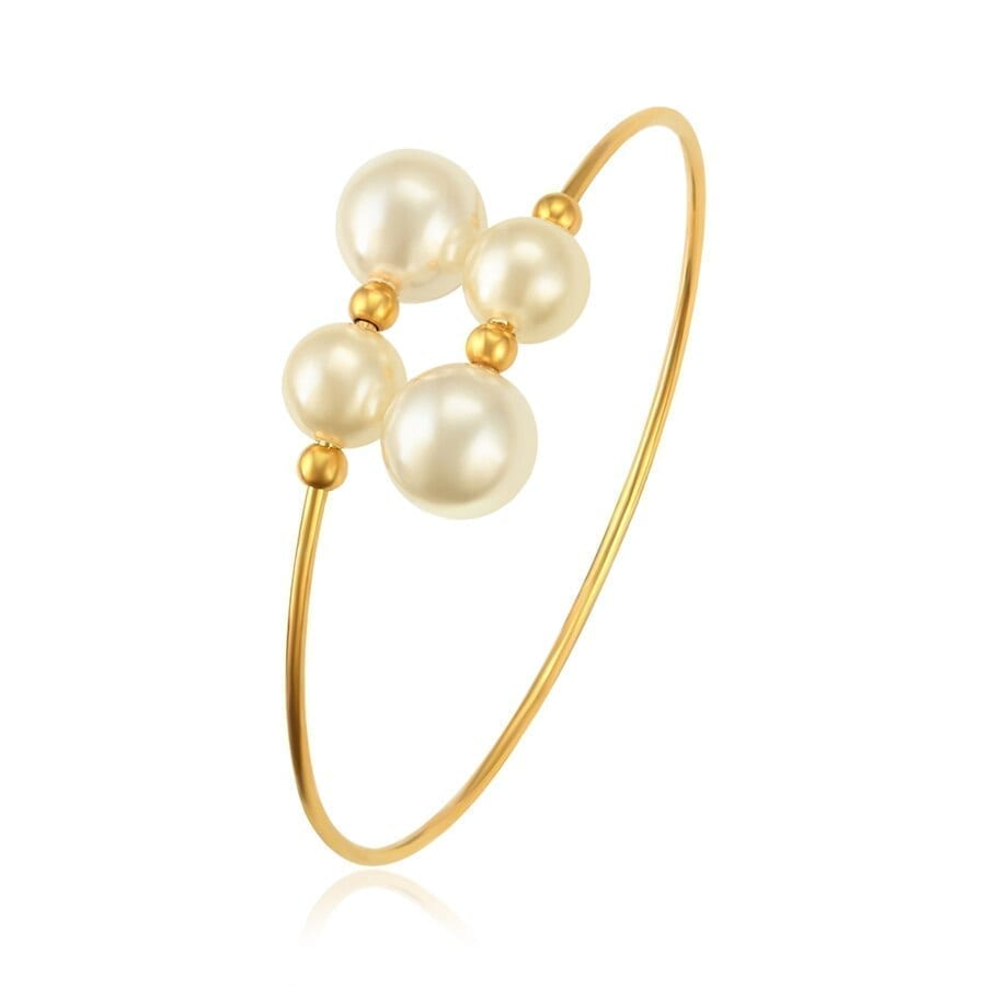 Bangles Women Imitation Pearl Stainless Steel Jewelry Charms Styles - Luxynor.com