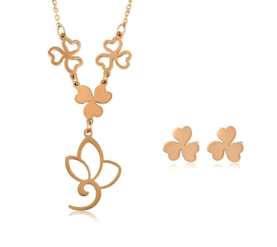Leaf Shaped Stainless Steel Jewelry Set Rose Gold Color for Women - Luxynor Jewelry