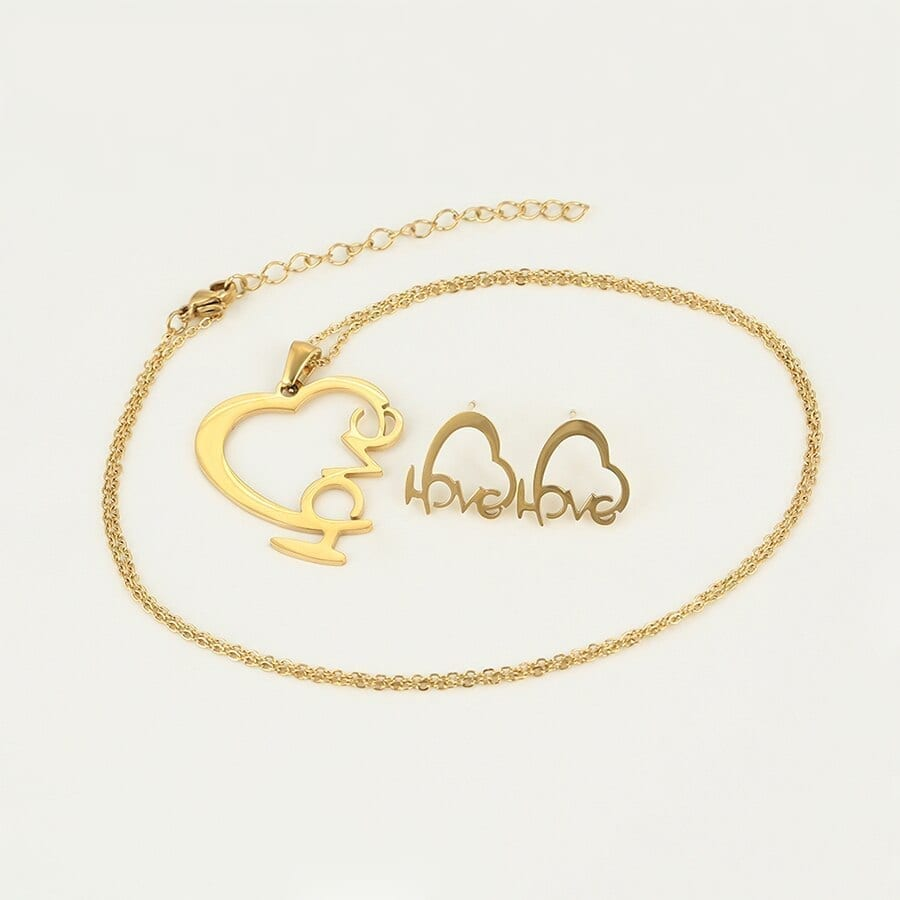 Heart Shaped Stainless Steel Jewelry Set Love Word