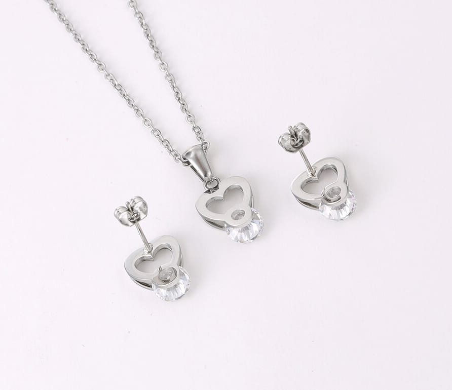 Heart Shaped Stainless Steel Jewelry Set Specially Design High Quality - Luxynor Jewelry