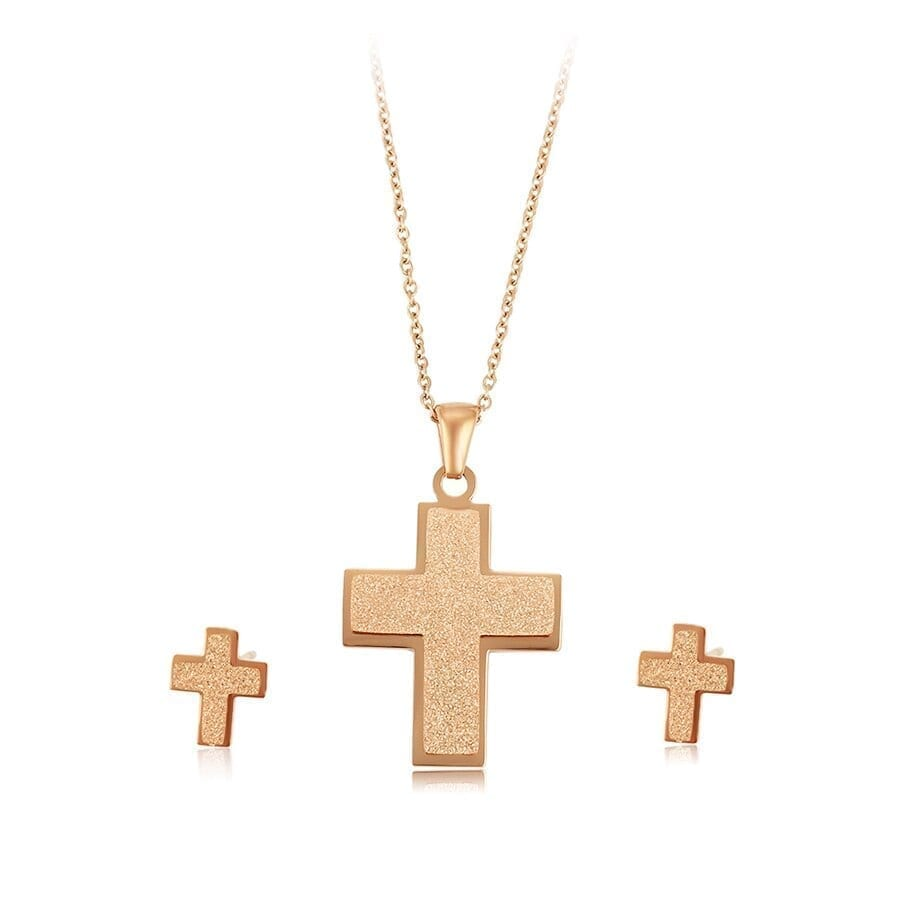 Fashion Cross Stainless Steel Jewelry Set Rose Gold Color Women Simple - Luxynor Jewelry