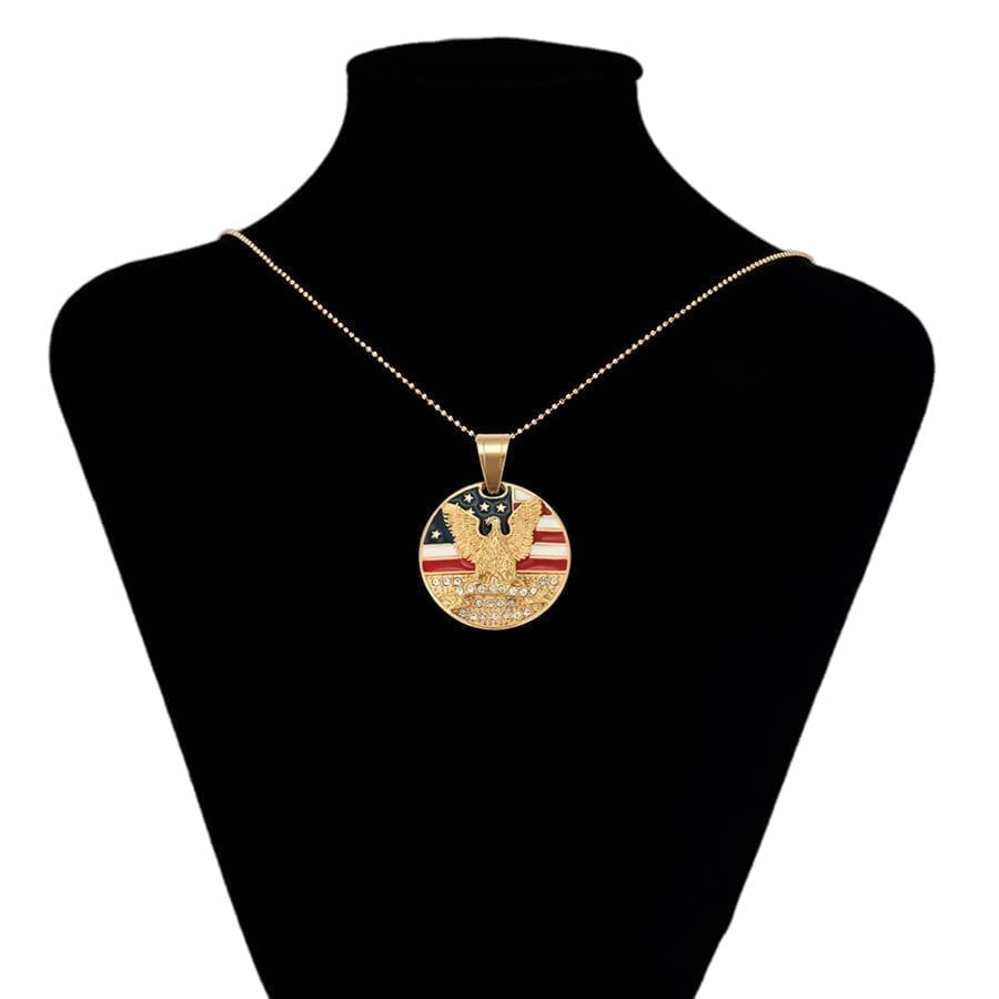 Eagle And US Flag Pendant Stainless Steel Fashion Jewelry Family - Luxynor Jewelry