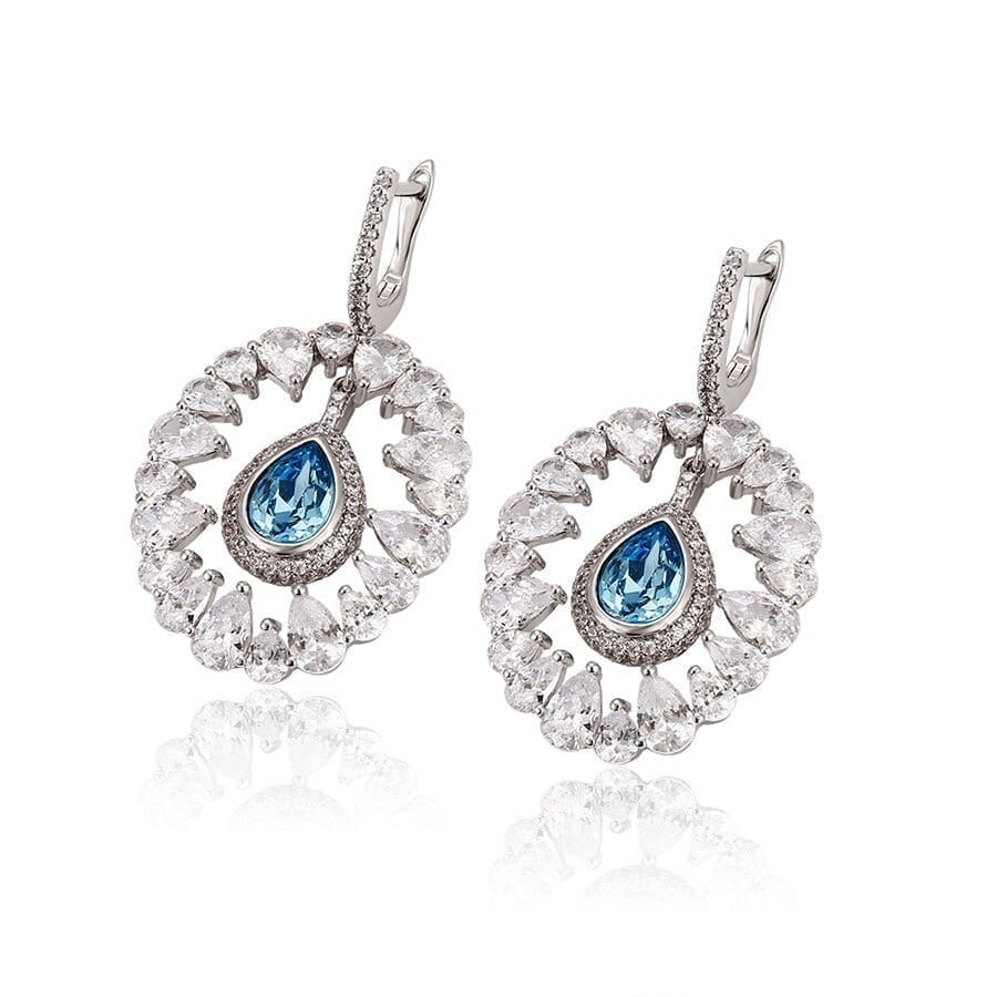 Round Shape Dangle Earrings Lovely Crystals from Swarovski Romantic for Women - Luxynor.com