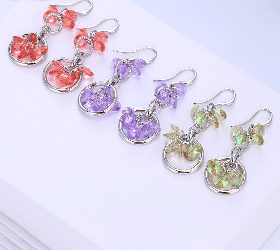 Drops Earrings Lovely Crystals from Swarovski Romantic Wedding Gift - Luxynor Jewelry