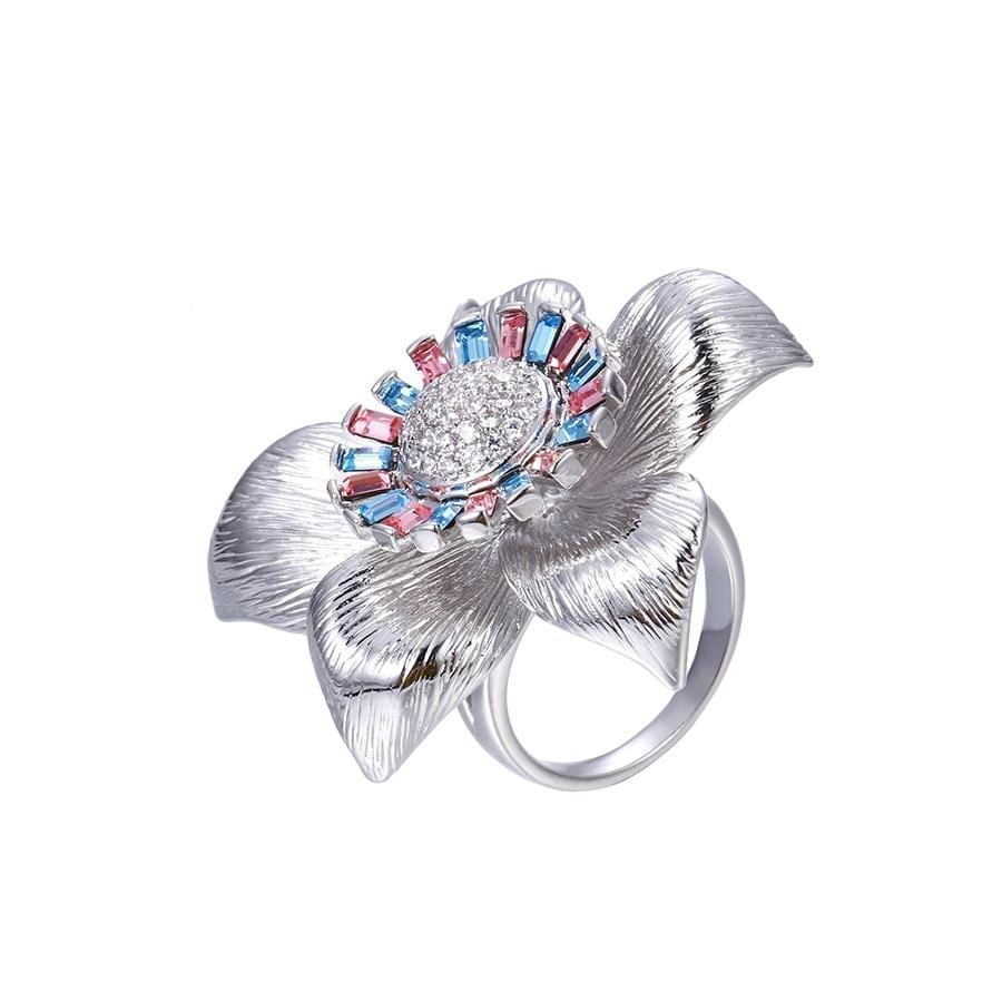 Flower Shaped Temperament Ring Made By Crystal from Swarovski - Luxynor.com