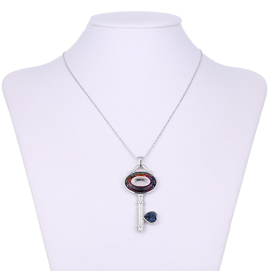 Key Shaped Pendant Necklaces Made By Crystals from Swarovski - Luxynor.com
