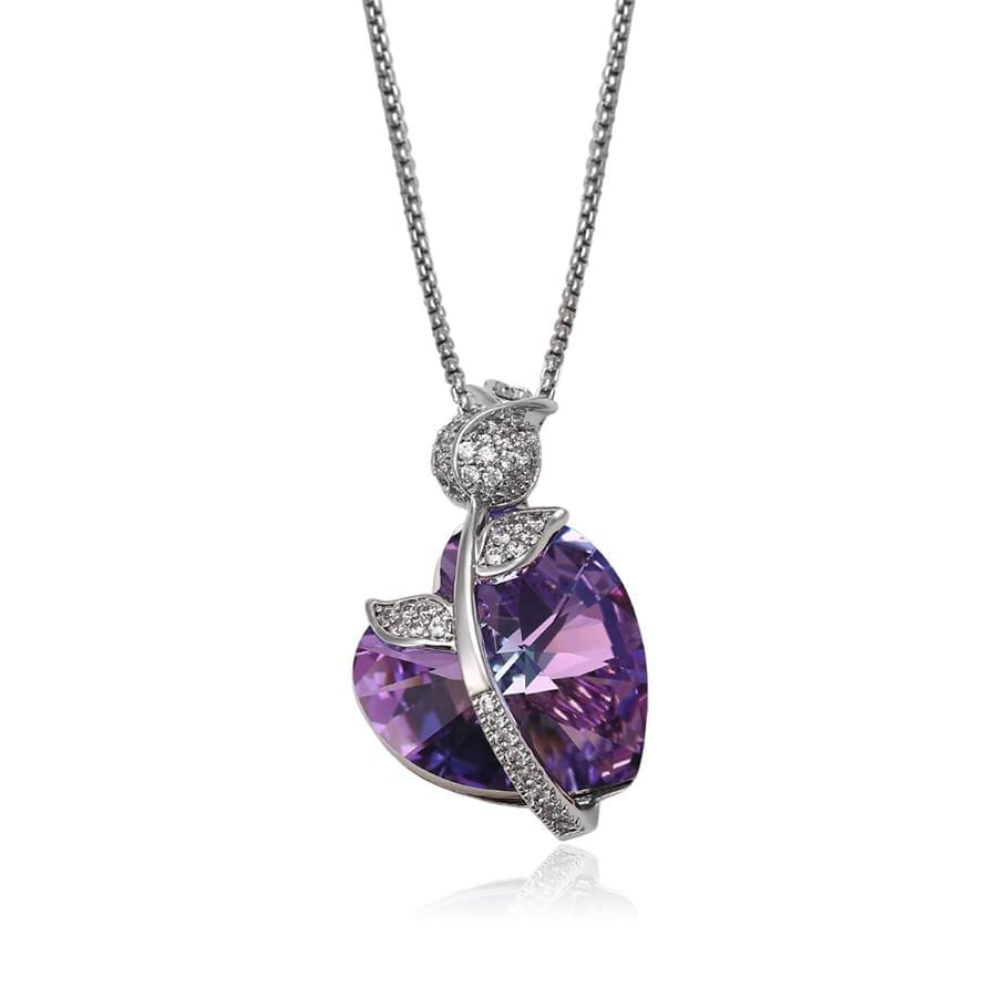Heart And Rose Shape Necklace Crystals from Swarovski - Luxynor.com