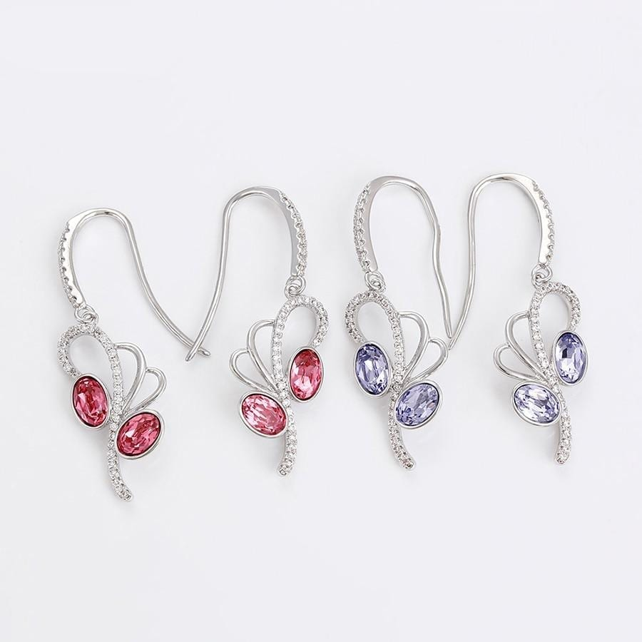 Colorful Flower Shaped Earrings Crystals from Swarovski - luxynor.com