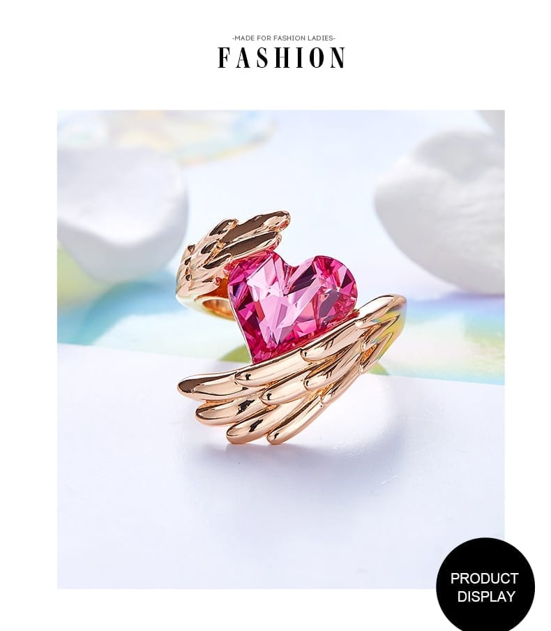 Angel Wings Heart Ring Pink Crystals from Swarovski - Luxynor.com