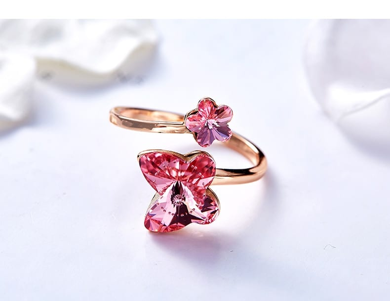 Rose Gold Butterfly Adjustable Ring Embellished With Crystals from Swarovski - Luxynor.com