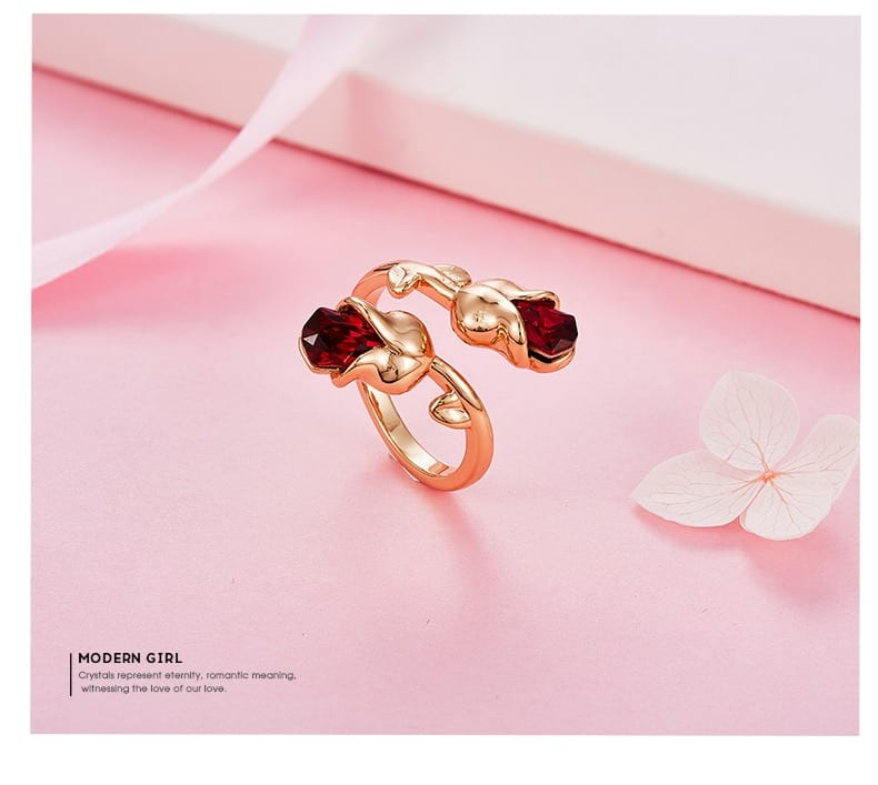 Rose Shape Ring Embellished with Crystal from Swarovski - Luxynor.com