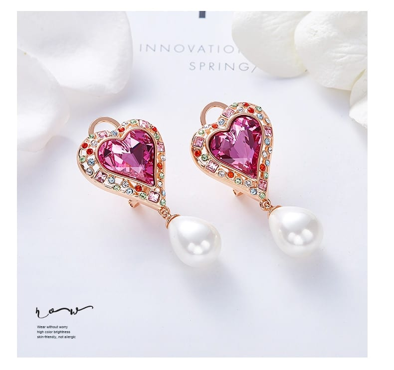Heart Rose Gold Stud Embellished With Crystals from Swarovski - Luxynor.com