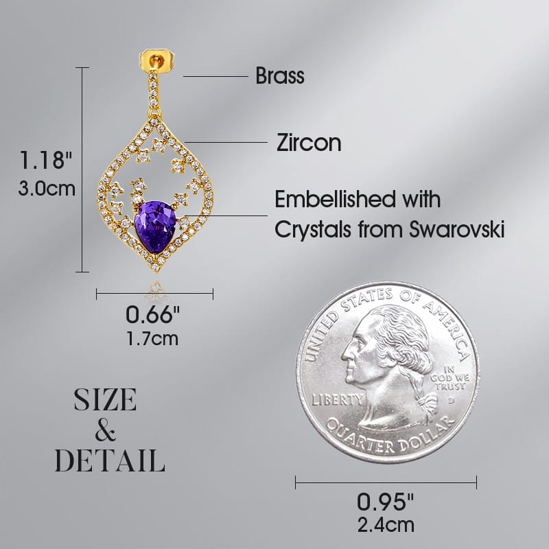 Fashion Gold Leaves Drop Earrings with Crystal from Swarovski - Luxynor.com
