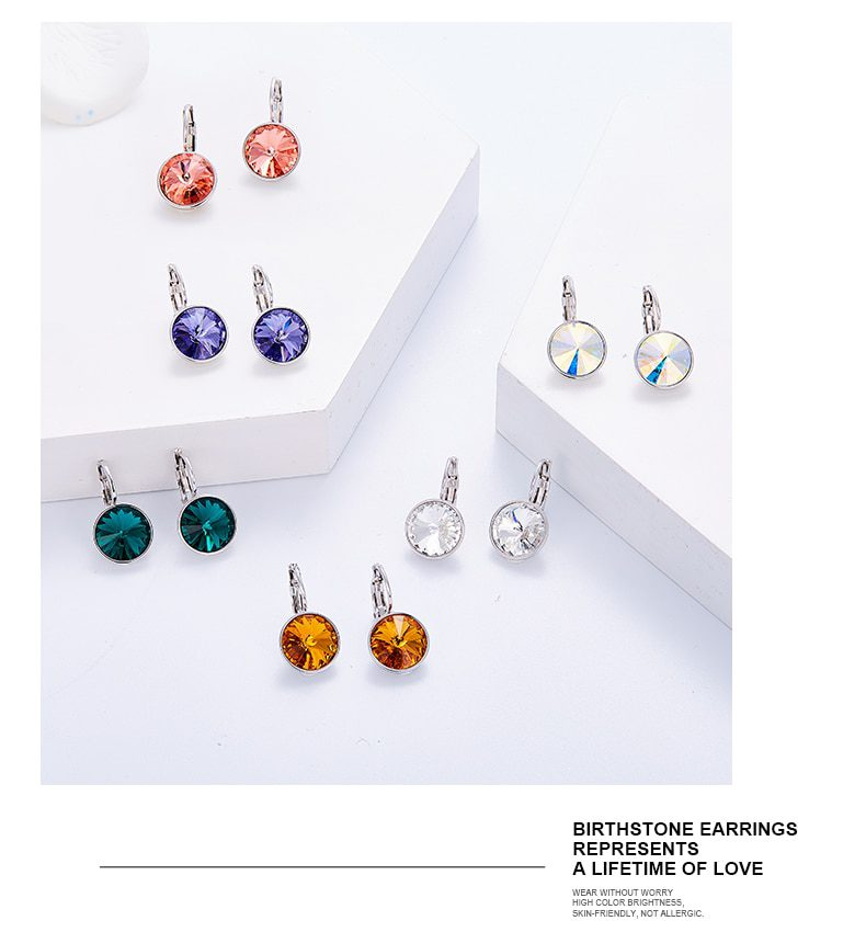 Round Charm Drop Earrings Colorful Crystals from Swarovski - Luxynor.com