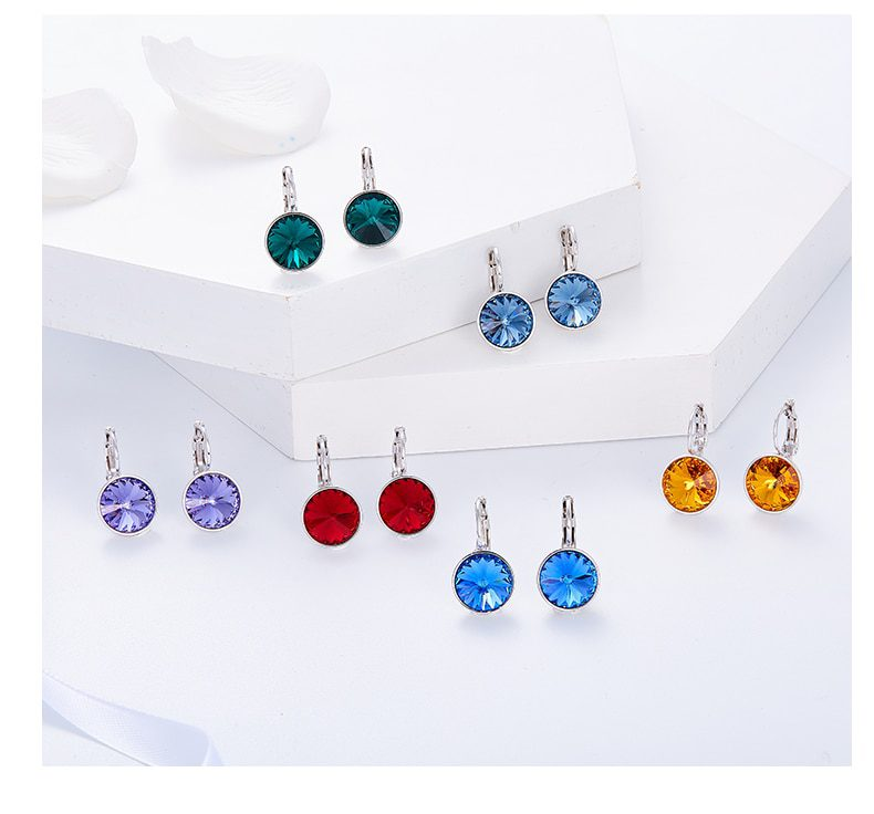 Round Charm Drop Earrings Embellished with Crystals from Swarovski - Luxynor.com