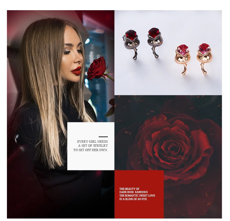 Rose Shape Stud Earrings Embellished with crystals from Swarovski - Luxynor.com